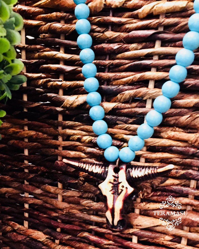 Teramasu Blue Howlite and One of a Kind Bull Head Pendant Necklace