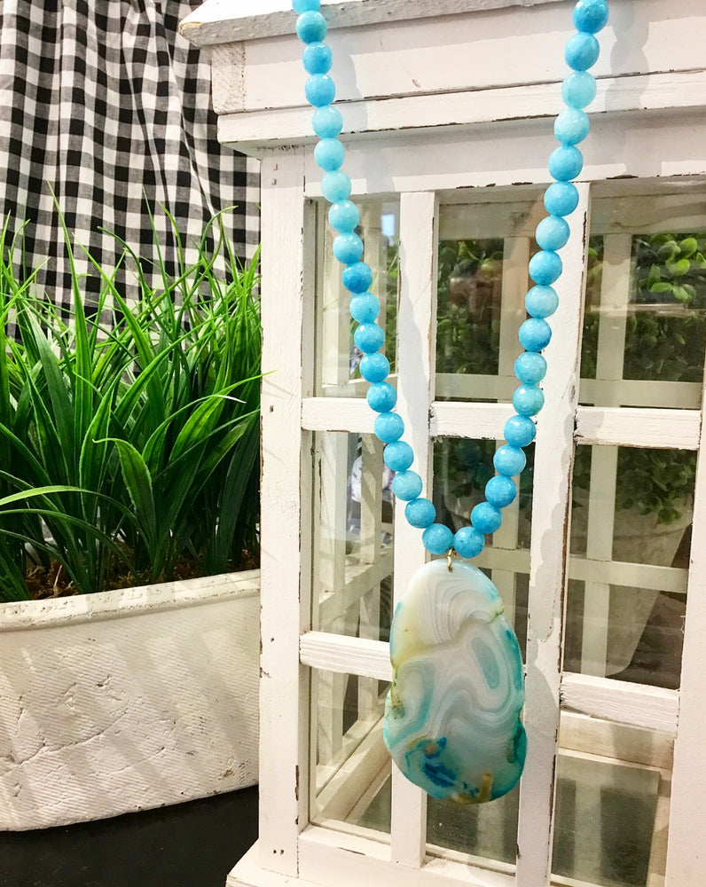 Teramasu Blue Jade and One of a Kind Agate Pendant Necklace