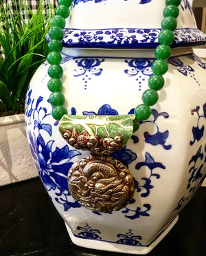 Teramasu Green Jade and One of a Kind Pendant Statement Necklace