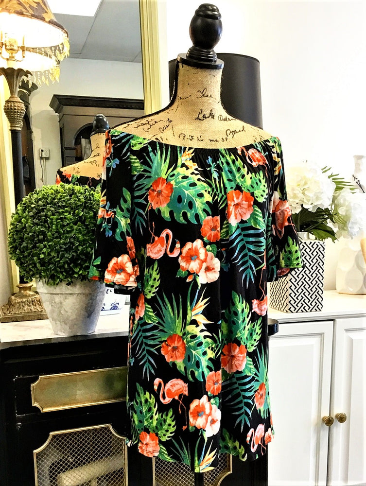 Teramasu Tropical Print On or Off The Shoulder Tunic Top