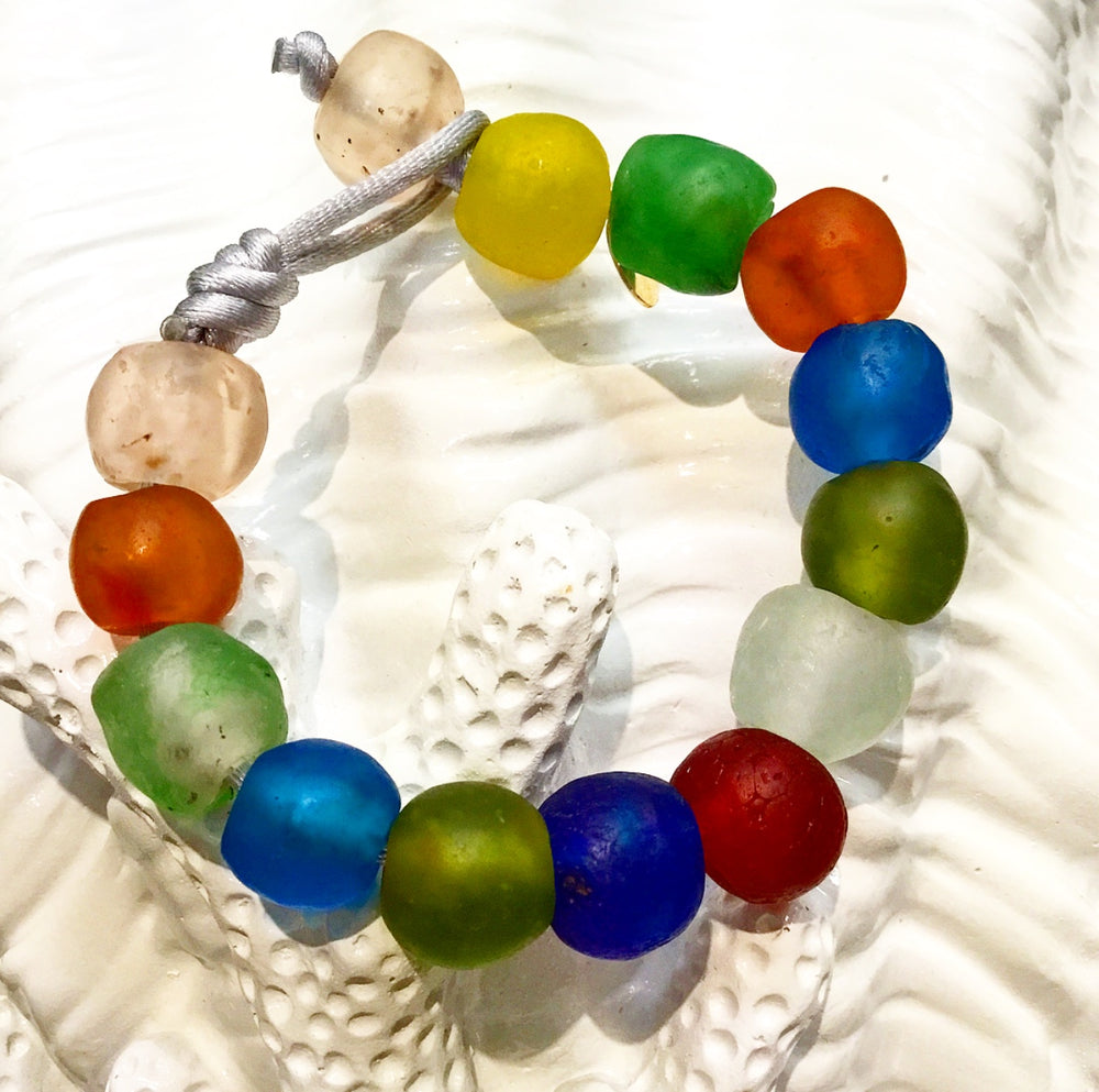 Teramasu Multi-color Tumbled Glass on Silver Satin Bracelet