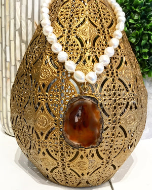 Teramasu Freshwater Pearl and One of a Kind Brown Agate Pendant Necklace
