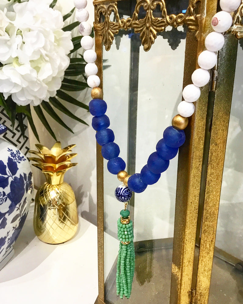 Teramasu White Agate and Blue Tumbled Glass with Hand-painted Porcelain Green Tassel Necklace