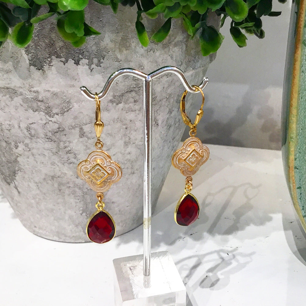 Teramasu Ruby Crystal Clover Patina Leverback Earrings