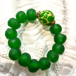 Teramasu Green Tumbled Glass and One-of-a-Kind Green & White Bead Stretch Bracelet