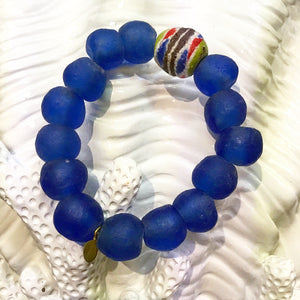 Teramasu Blue Tumbled Glass and One-of-a-Kind Multi-colored Bead Stretch Bracelet