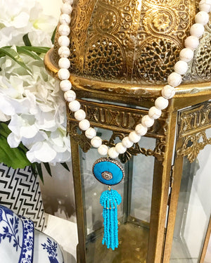 Teramasu Howlite with One-of-a-Kind Turquoise Pendant and Turquoise Tassel Necklace