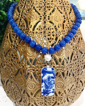 Teramasu Sodalite with Freshwater Pearl and One-of-a-Kind Blue & White Porcelain Necklace
