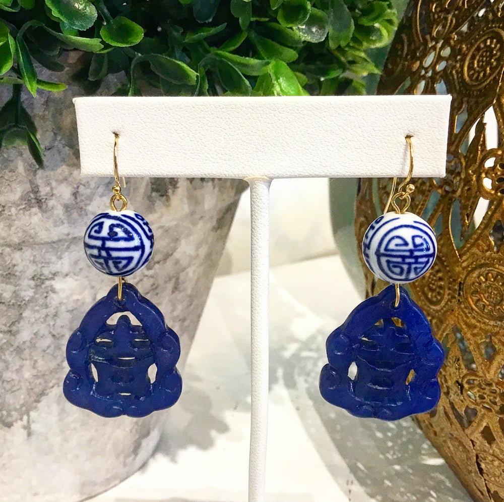 Teramasu Blue and White Hand-painted Porcelain and Carved Blue Jade Earrings