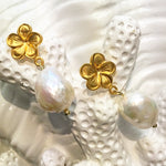 Teramasu Flower Post with Baroque Pearl Earrings