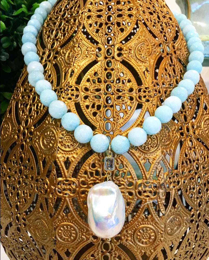 Teramasu Blue Jade Necklace with Blue Topaz and Baroque Pearl Pendant