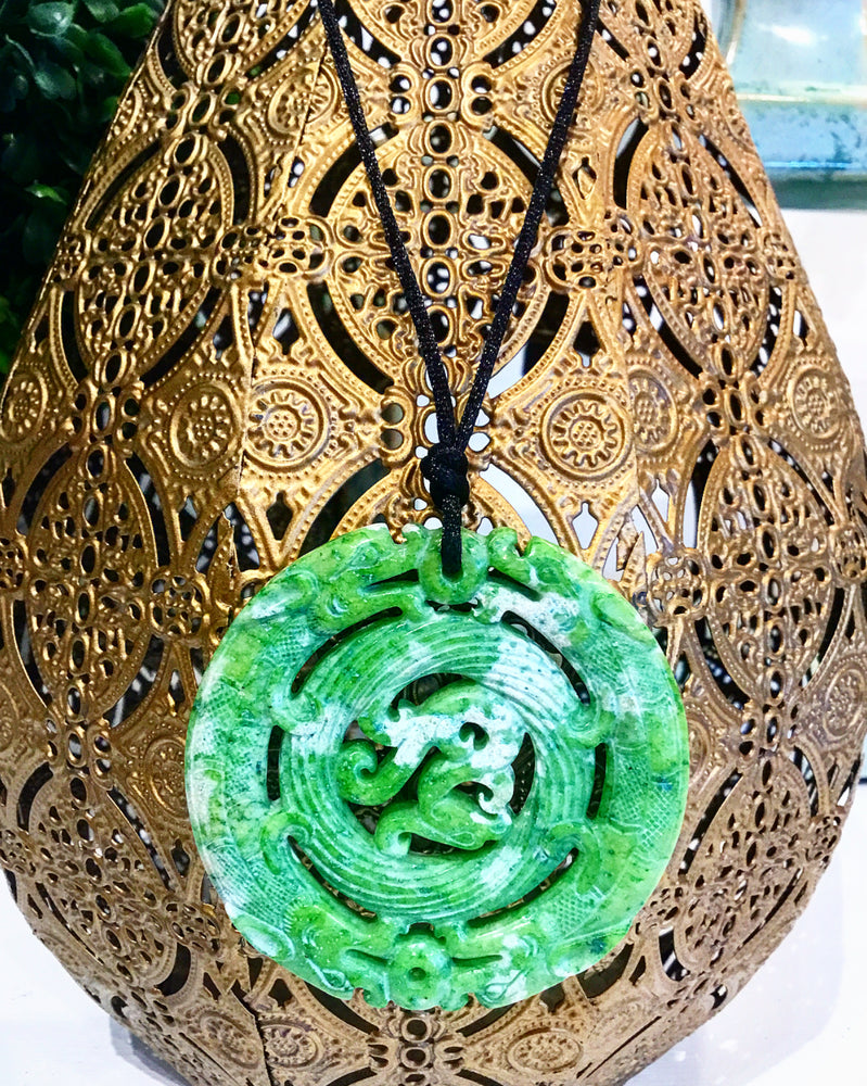 Teramasu Carved Green Jade Pendant on Black Silk Satin Necklace with Freshwater Pearl Toggle