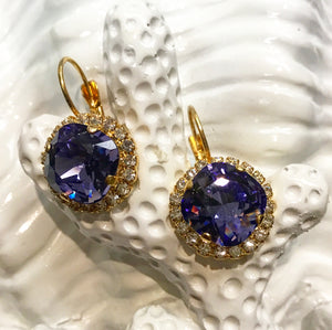 Teramasu Purple Swarovski Crystal with Crystal Rhinestones Leverback Gold Drop Earrings