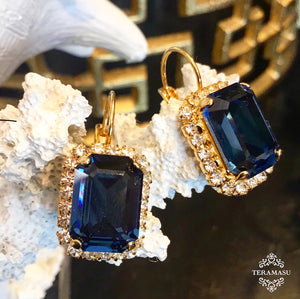 Teramasu Sapphire Blue Square Swarovski Crystal with Crystal Rhinestones Leverback Gold Drop Earrings