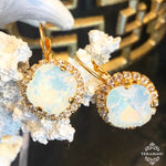 Teramasu White Opal Swarovski Crystal with Crystal Rhinestones Leverback Gold Drop Earrings