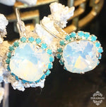 Teramasu White Opal Swarovski Crystal with Turquoise Crystal Rhinestones Leverback Silver Drop Earrings