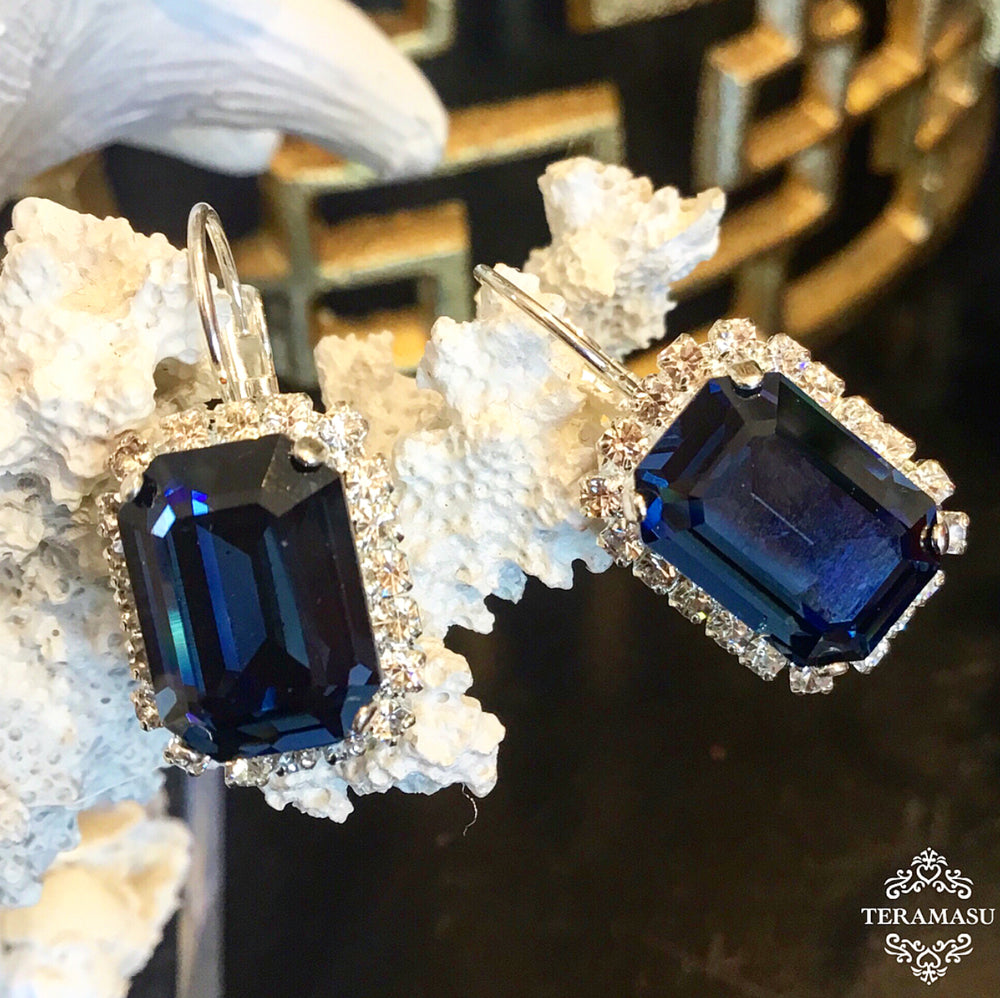 Teramasu Sapphire Blue Square Swarovski Crystal with Crystal Rhinestones Leverback Silver Drop Earrings