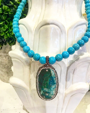 Teramasu Turquoise and One of a Kind Green-Blue Agate Pendant Necklace