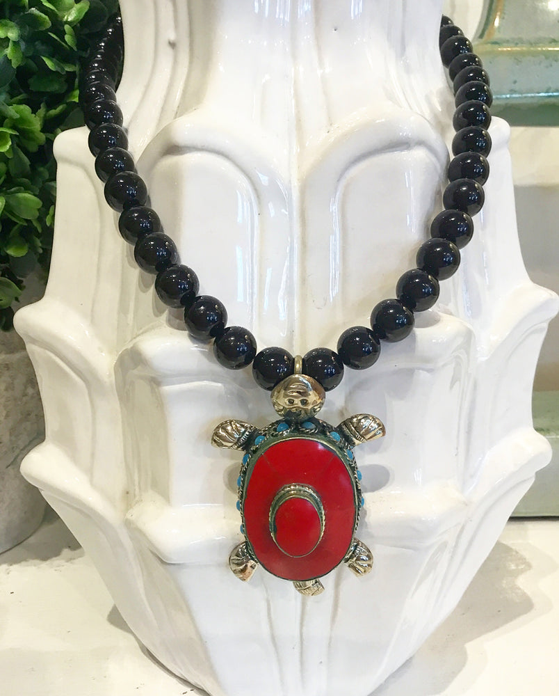 Teramasu Black Onyx Necklace with One-of-a-Kind Turquoise & Red Carnelian Turtle Pendant