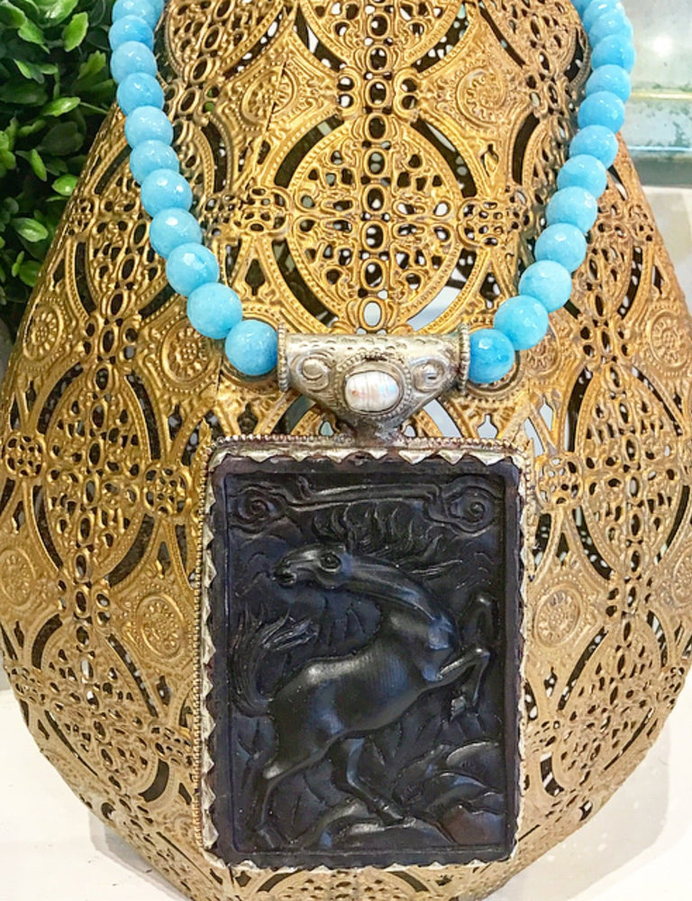 Teramasu Blue Faceted Jade Necklace with One-of-a-Kind Carved Black Horse Pendant and Pearl