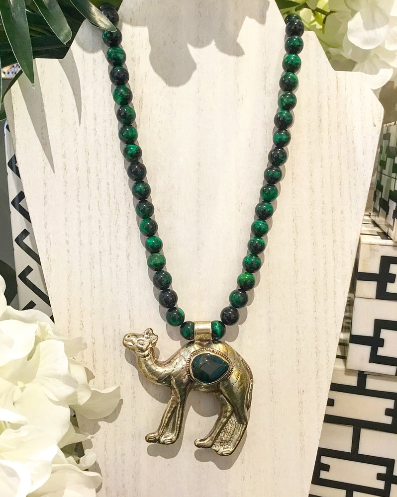 Teramasu Verdite Necklace with One-of-a-Kind Camel Pendant