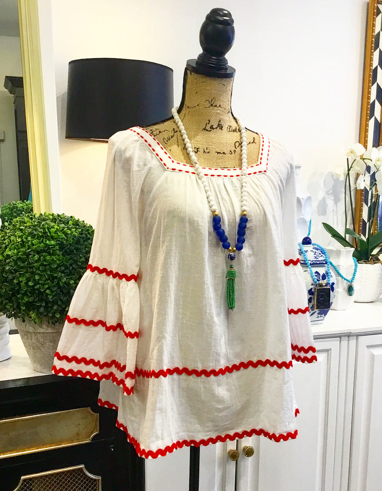 White & Coral Red Zig-Zag Trim Boho Blouse with Square Neckline and Bell Sleeves