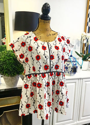 White with Red & Navy Floral Embroidery Baby Doll Top