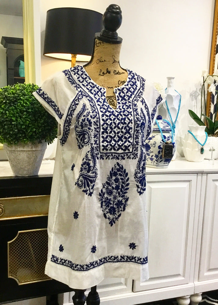 White with Navy Floral Embroidery Blouse with Cap Sleeves