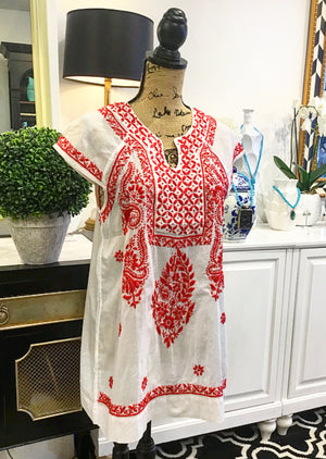White with Coral Red Floral Embroidery Blouse with Cap Sleeves