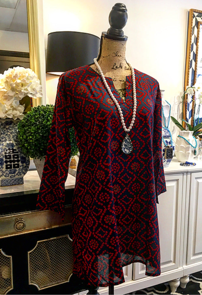 Navy Blue, Red, and Gold Abstract Design Tunic with Long Sleeves