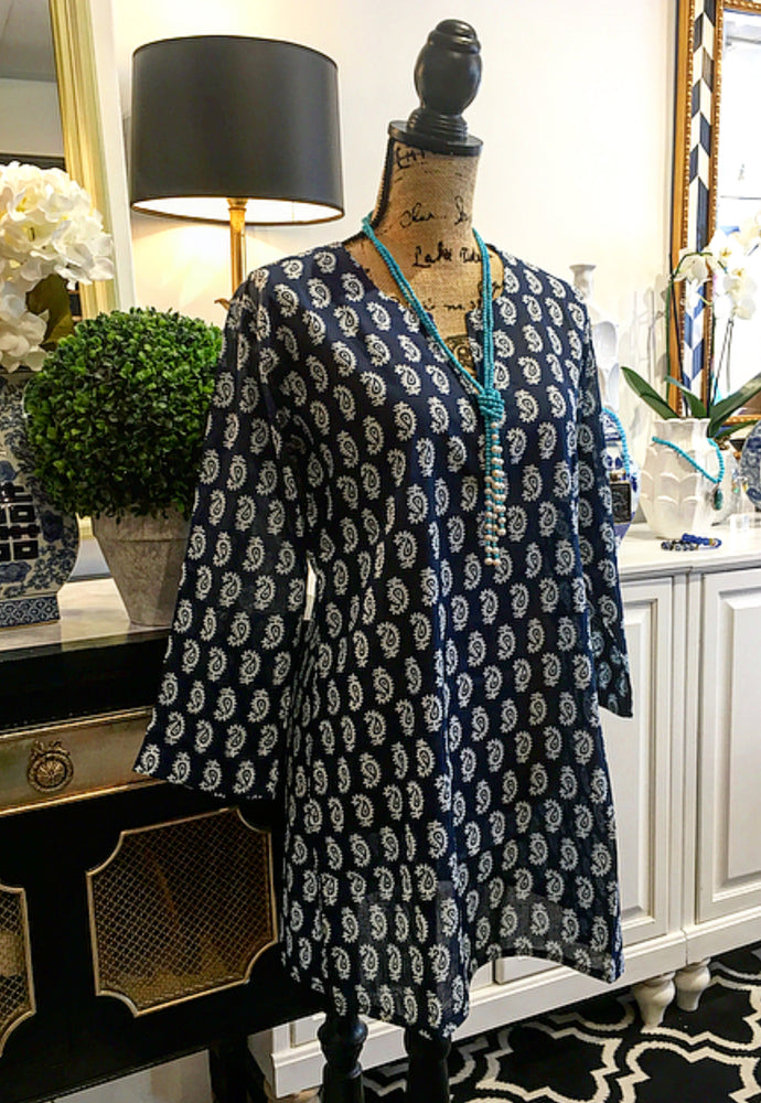 Navy Blue and White Design Tunic with Long Sleeves