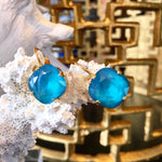 Teramasu 12mm Aqua Blue Swarovski Crystal on Gold Leverback Drop Earrings