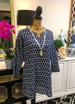 White and Navy Blue Design Tunic with Long Sleeves