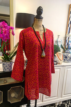 Pink -Red, Orange, and Gold Abstract Design Tunic with Long Sleeves
