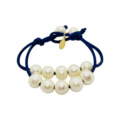 Teramasu Pearl on Navy Satin Bracelet