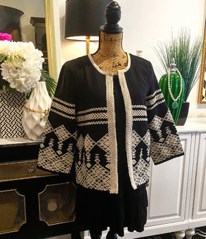 Black and White Embroidered Boho Design Jacket with Inner Fasteners