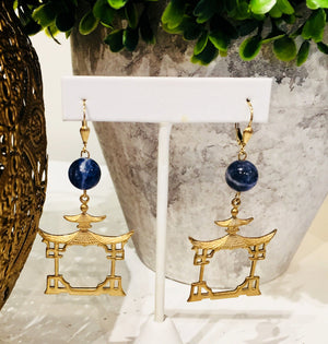 Teramasu Sodalite with Gold Pagoda Drop Earrings