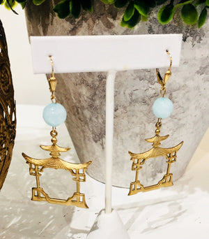 Teramasu Faceted Blue Jade with Gold Pagoda Drop Earrings