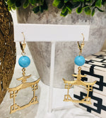 Teramasu Turquoise with Gold Pagoda Drop Earrings