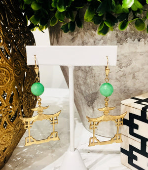 Teramasu Faceted Green Jade with Gold Pagoda Drop Earrings