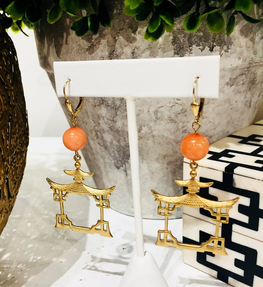 Teramasu Coral Agate with Gold Pagoda Drop Earrings