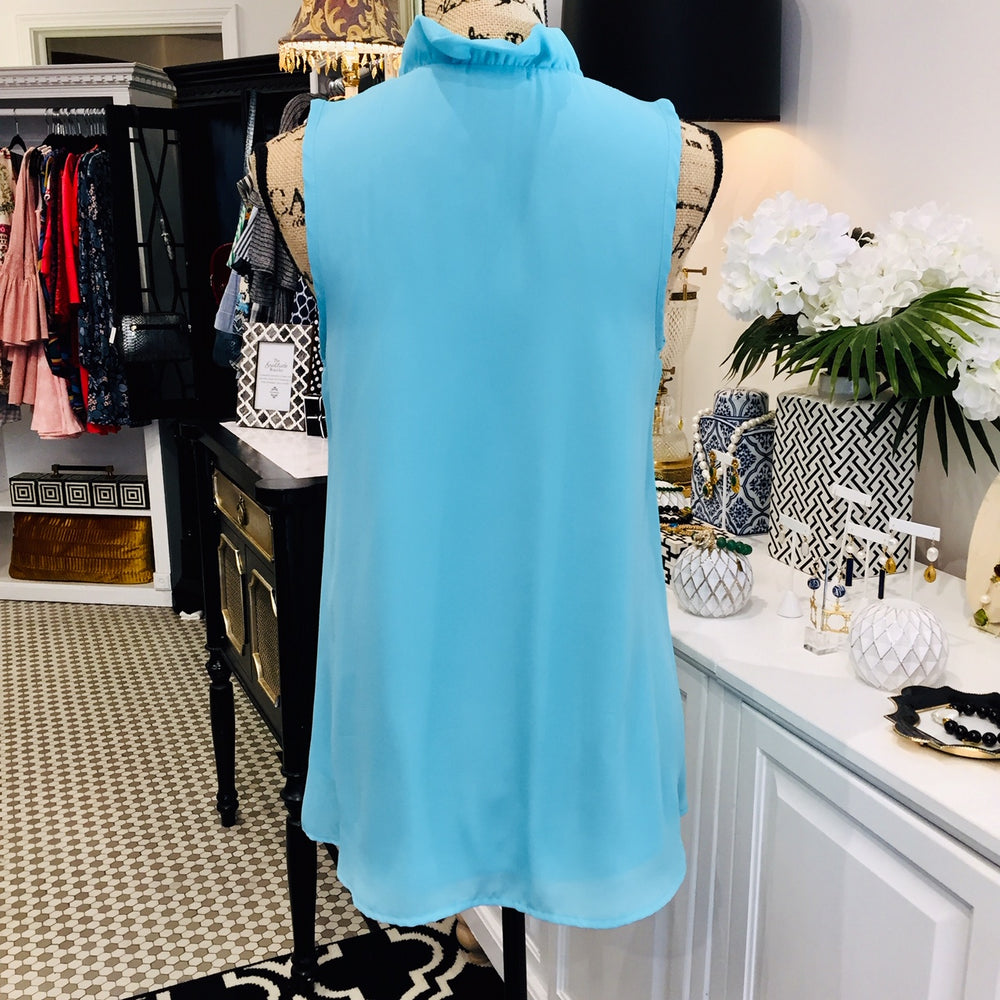 Aqua Blue Sleeveless Blouse w/ Ruffle Neckline