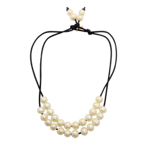 Pearl Long And Short Black Satin Necklace