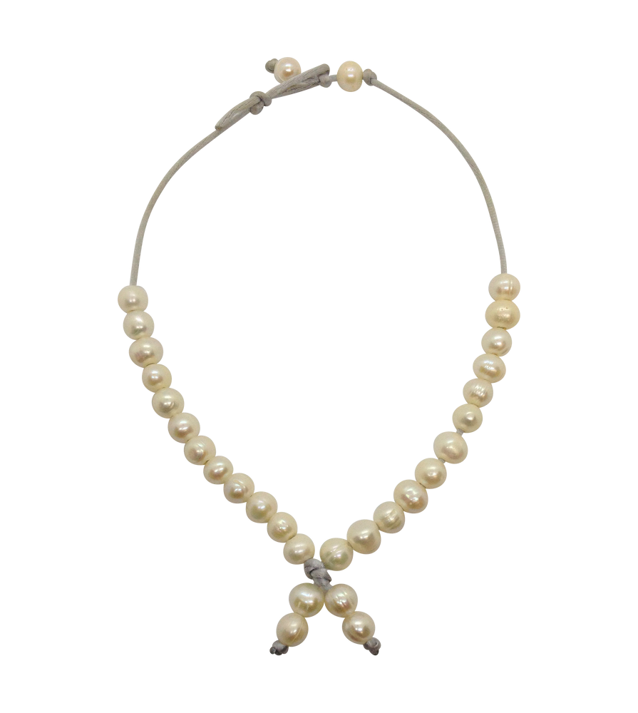 Teramasu Pearl Choker Necklace on Silver Satin