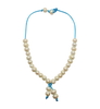 Teramasu Pearl Choker Necklace on Turquoise Satin