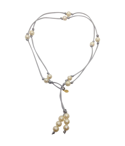 Teramasu Pearl on Silver Satin Lariat and Long Necklace