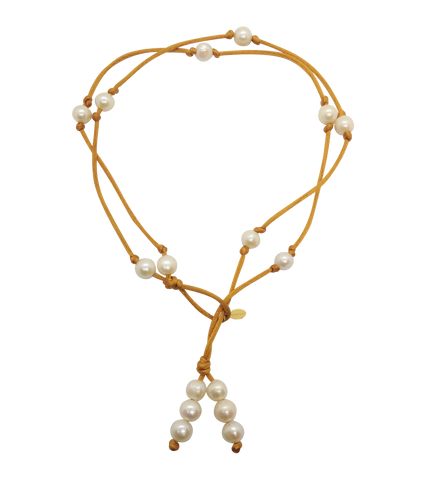 Teramasu Pearl on Gold Satin Lariat and Long Necklace