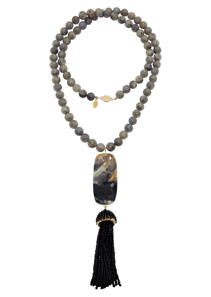 Teramasu Labradorite Stone with Tassel Pendant Necklace