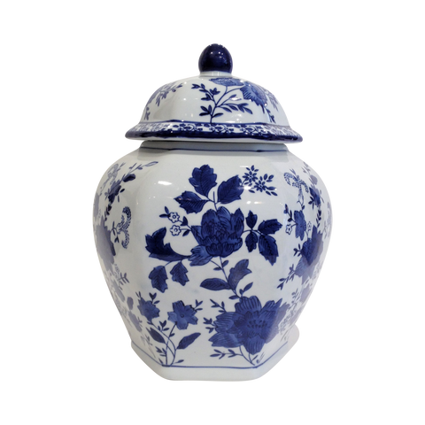 Teramasu White with Dark Navy Floral Jar with Lid