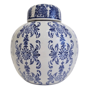 White with Navy Floral Round Jar with Lid